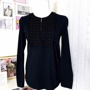 Tory Burch Crochet Bib Long Sleeve Black Top SizeM